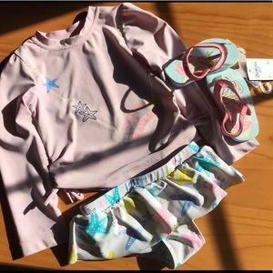 Adorable Long Sleeve Swim Suit & Flip Flop Set